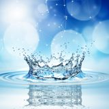 Blue water splash on bokeh background. 3d rendering royalty free illustration
