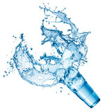 Blue water splash in glass isolated Royalty Free Stock Photos
