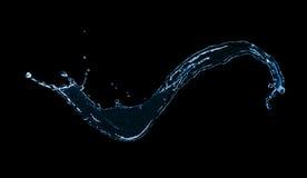 Blue water splash isolated on black background Stock Photography