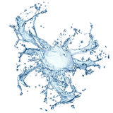 Blue water splash isolated Stock Images