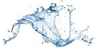 Blue water splash isolated Stock Photo