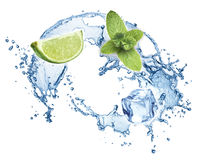 Blue water splash isolated Royalty Free Stock Images