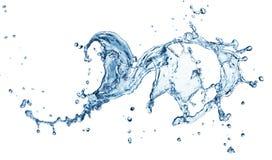 Blue water splash. Isolated on white background Royalty Free Stock Image