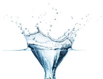 Blue water splash isolated on white background Stock Photography