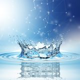 Blue water splash isolated on white background. 3d rendering Stock Images