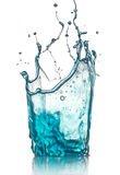 Blue water splash. On white background Royalty Free Stock Photos