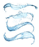 Blue water splashes isolated on white background Royalty Free Stock Photo