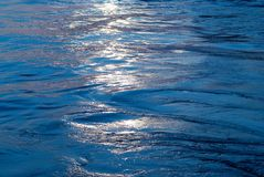 Blue water with sun line Royalty Free Stock Images