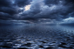 Blue water surface in a storm Royalty Free Stock Image