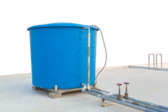 Blue water tank of industrial building on roof top on white back Royalty Free Stock Photography