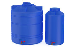Blue water tanks Royalty Free Stock Photo