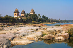 Blue water and 17th century structures in India Royalty Free Stock Photography