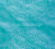 Blue water tribal background with white mandalas Royalty Free Stock Photos