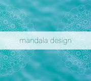 Blue water tribal background with white mandalas Royalty Free Stock Image