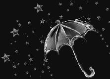 Black Water Umbrella and Stars Stock Photo