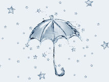 Blue Water Umbrella and Stars Royalty Free Stock Photography