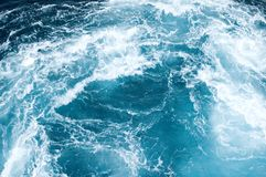 Blue Water Wake. Clear blue water wake with white water foam Royalty Free Stock Image