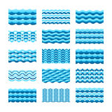 Blue water wave vector tiles set for seamless patterns and textures.  vector illustration