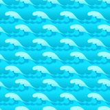 Blue water waves seamless vector texture or pattern.  vector illustration