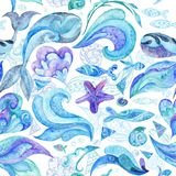 Blue Watercolor Abstract Marine Pattern Royalty Free Stock Photos