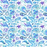 Blue Watercolor Abstract Marine Pattern Stock Photos
