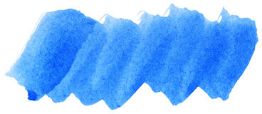 Blue watercolor abstract paint stroke. On white background royalty free stock photography