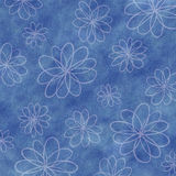 Blue Watercolor Background with Abstract Flowers Stock Photo