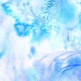 Blue watercolor background with blotchiness and paint strokes. Winter frost texture Royalty Free Stock Photo