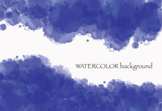 Blue watercolor background. Blue clouds. With white stock illustration