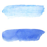 Blue watercolor background. Brush stroke on paper texture. Watercolour wash on white paper. Bright and pale paint stroke for backdrop. Real watercolor texture vector illustration
