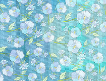 Blue watercolor background with flowers Royalty Free Stock Photography