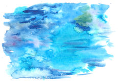 Blue watercolor background with paint washes and strokes Stock Photo