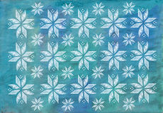 Blue watercolor background with a Pattern based on ethnic Ukrain stock image