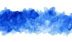 Blue watercolor background, shades of blue. Watercolor blue white hand painted brush strokes. Abstract blue background. Vivid aquarelle waves. Sea pattern stock illustration