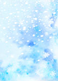 Blue  watercolor background with snowflakes Royalty Free Stock Photography