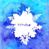Blue watercolor background with white leaves Stock Photo