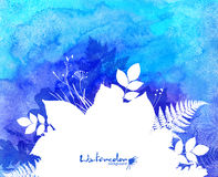 Blue watercolor background with white leaves Royalty Free Stock Photo