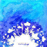 Blue watercolor background with white leaves Royalty Free Stock Images