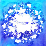 Blue watercolor background with white leaves Stock Images