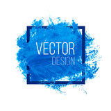 Blue Watercolor Blot In Square Frame Royalty Free Stock Photos