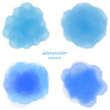 Blue watercolor blotch. Set of blue watercolor circles. Stock Image