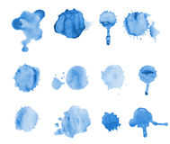 Blue watercolor blots isolated on white background. splash, splatter illustration.  stock illustration