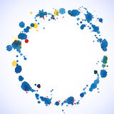 Blue watercolor blots round frame for your disign. Royalty Free Stock Image