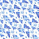 Blue watercolor branches and buds. Seamless pattern. Royalty Free Stock Images
