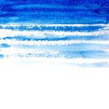 Blue watercolor brush strokes background Stock Images