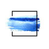 Blue watercolor brush strokes with space for your own text. Wet brush stroke on paper texture. Dry brush strokes. Abstract composition for design elements stock illustration