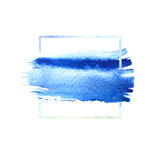 Blue watercolor brush strokes with space for your own text. Wet brush stroke on paper texture. Dry brush strokes. Abstract composition for design elements royalty free illustration