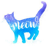 Blue watercolor cat. Background with blue watercolor cat and lettering Meow. Hand drawn vector illustration Royalty Free Stock Image