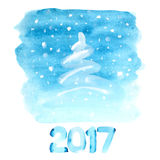 Blue watercolor Christmas tree Royalty Free Stock Photo