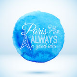 Blue watercolor circle with Paris modern text. Blue vector watercolor circle with Paris modern text design Royalty Free Stock Image